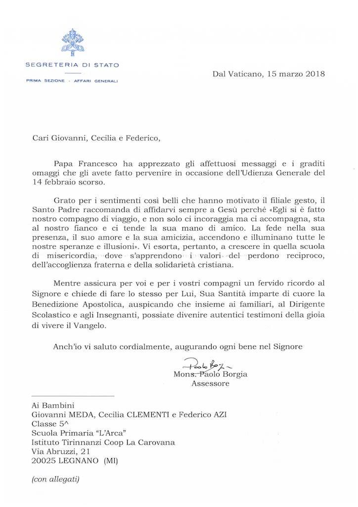 Lettera Papa a Primaria Tirinnanzi Legnano