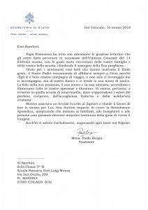 Lettera del Papa alla Don Luigi Monza